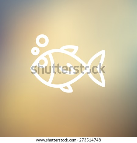 Little fish icon thin line for web and mobile, modern minimalistic flat design. Vector white icon on gradient mesh background. - stock vector