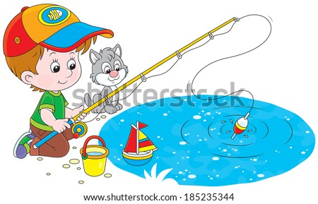 Little fisher - stock vector