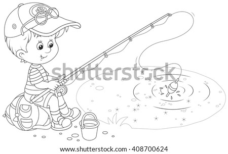 Little fisher on a pond - stock vector