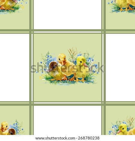 Little fluffy cute watercolor ducklings tiled seamless pattern vector illustration - stock vector