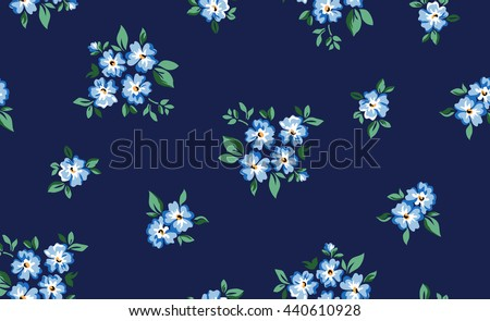 little forget me not flower print ~ seamless background - stock vector