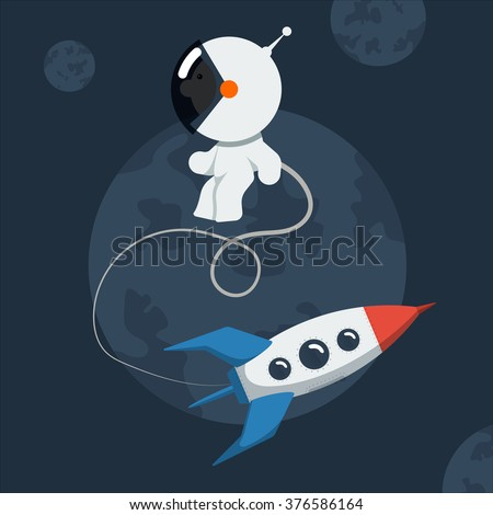Little funny astronaut floated in space with rocket. Flat style vector illustration. - stock vector
