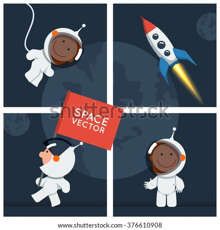 Little funny astronaut in different situations. Flat style vector illustration set for spaceman and spaceship. - stock vector