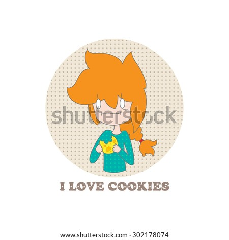 Little funny cartoon girl and the words I love cookies on a white background. Vector. Illustration for printing on T-shirts, postcards, posters, business cards, avatars. Emotions. Joke. - stock vector