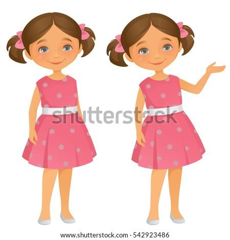 Little Girl Stock Vector 542923486 - Shutterstock
