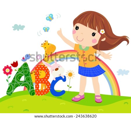 Little girl and ABC - stock vector