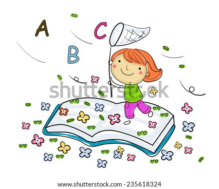 Little girl and book - stock vector