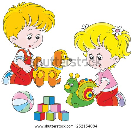 Little girl and boy playing with their toys - stock vector