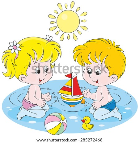 Little girl and boy playing with their toys in water in a summer day - stock vector