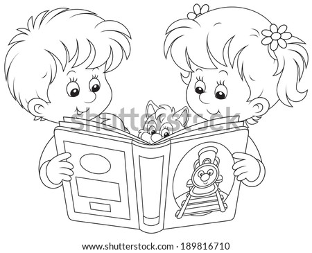 Little girl and boy reading a book - stock vector