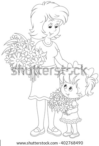 Little girl and her mum with bouquets of flowers