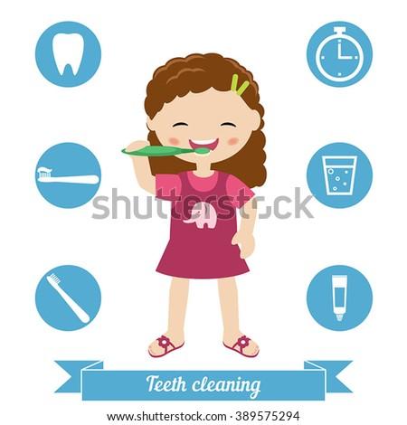 Little girl brushing her teeth. Health care concept. - stock vector