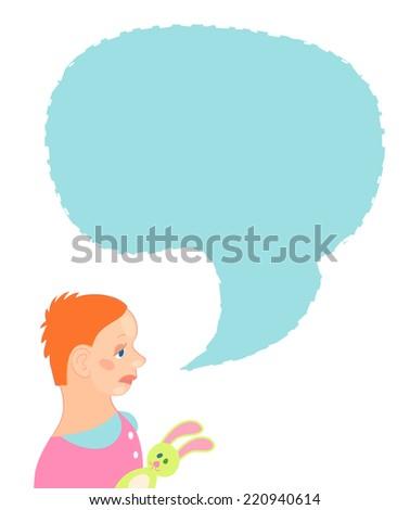 Little girl cartoon character portrait with speech bubble - stock vector