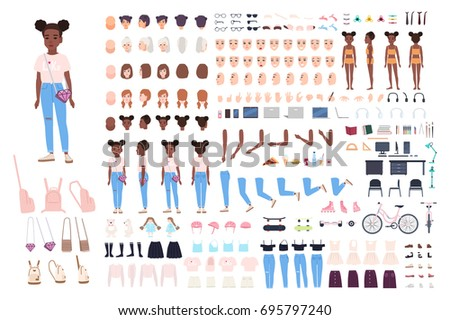 Little girl character constructor. Female child creation set. Different postures, hairstyle, face, legs, hands, clothes, accessories collection. Vector cartoon illustration. Front, side, back view