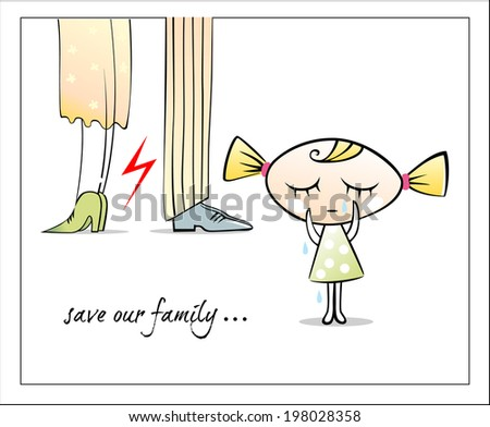 Little girl crying and wiping tears - stock vector
