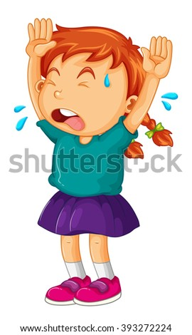 Little girl crying with her arms up illustration - stock vector