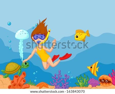 Little girl diving in the ocean - stock vector