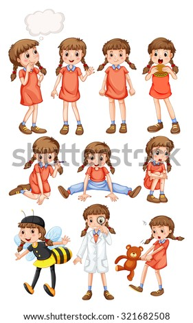 Little girl doing different activities illustration - stock vector