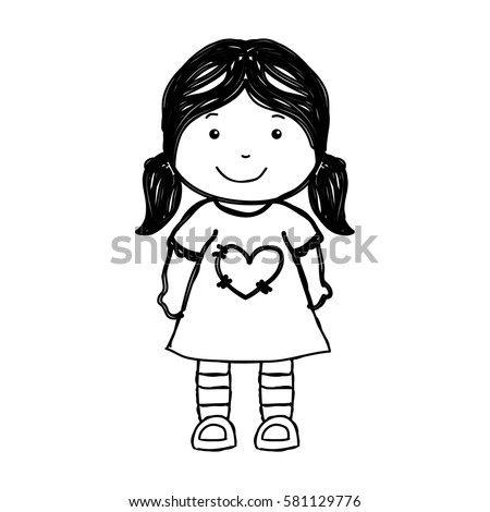 Little Girl Drawing Isolated Icon Stock Vector 581129776