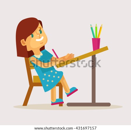 Little girl drawing. Vector flat cartoon illustration
