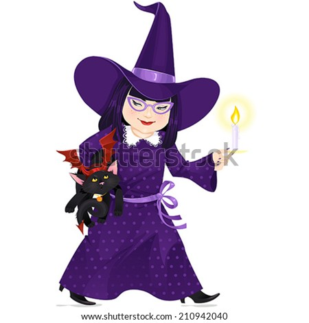 Little Girl dressed like Witch with a little black cat dressed like Devil  on Halloween. Vector illustration. - stock vector
