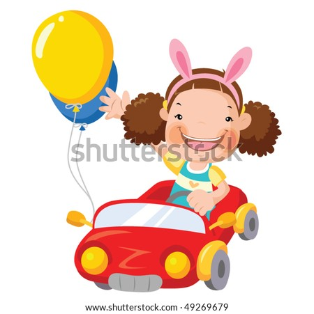 little girl driving a red car. cartoon vector illustration - stock vector