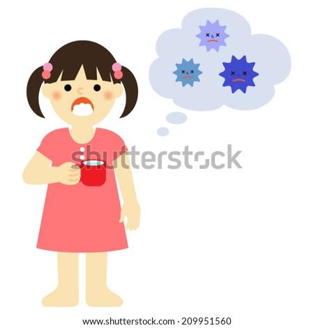 little girl gargling to prevent cold / Vector EPS 10 illustration  - stock vector