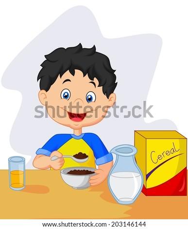 little girl having breakfast cereals with milk - stock vector