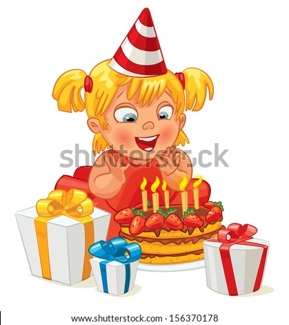 Little girl having fun celebrating her birthday. Lots of gifts and cake. Vector illustration. Isolated on white background - stock vector