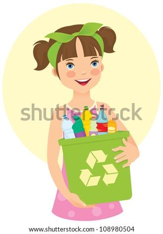 Little girl holding recycling bin/ Little girl holding recycling bin - stock vector