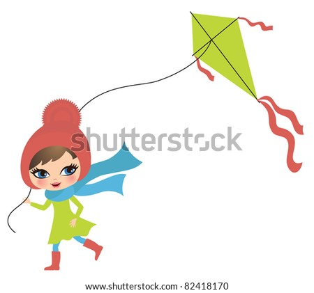 Little girl in autumn with a kite - stock vector