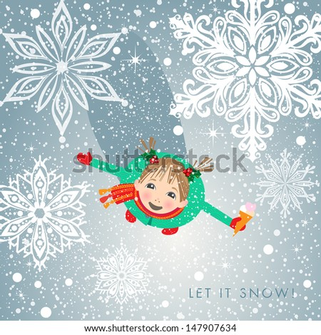 Little girl in cute outfit fascinated with first snow. Holiday concept. EPS 10 Vector illustration.   - stock vector