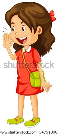 Little Girl Red Dress Shouting Illustration Vector De