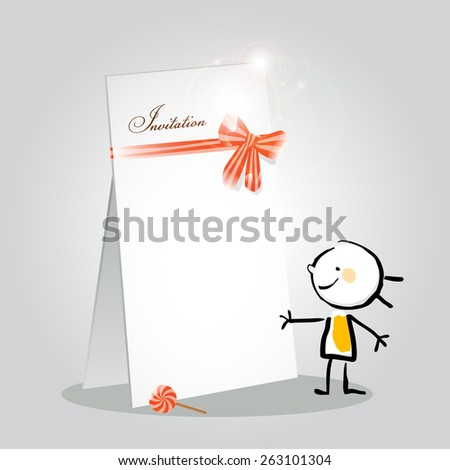Little girl invitation vector card, doodle style sketch illustration concept.  - stock vector