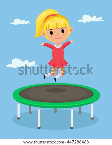 Little girl jumping on trampoline. Vector flat cartoon illustration