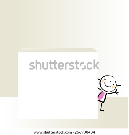 Little girl, kid peaking and waving hello, behind a blank placard. Vector doodle style sketchy illustration.  - stock vector