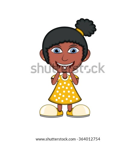 Little girl laughing cartoon vector illustration - stock vector