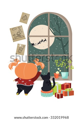 Little girl looking out of the window behind Santa Claus. Vector isolated illustration - stock vector