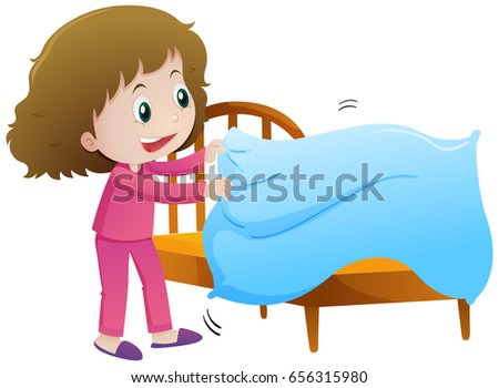 little girl making bed illustration stock vector 656315980 rh shutterstock com Shirt Clip Art making your bed clipart