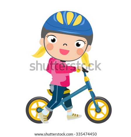 Little girl on a bicycle vector