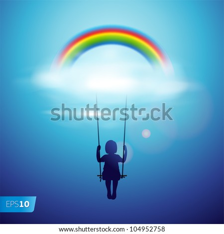 Little girl on a swing under the rainbow in a clouds, vector Eps 10 illustration. - stock vector