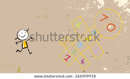 Little girl on playground, playing hopscotch game. Vector drawing, line art doodle, sketch style illustration.   - stock vector