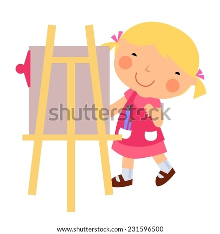 Little girl painting - stock vector