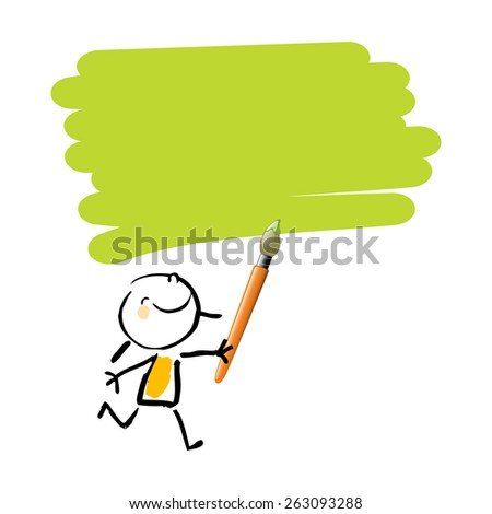 Little girl painting with green color, cute smiling artist kid. Happy kids doodle style sketchy vector illustration. - stock vector