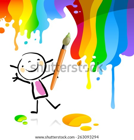 Little girl painting with spectrum colors, cute smiling artist kid. Happy kids doodle style sketchy vector illustration. - stock vector
