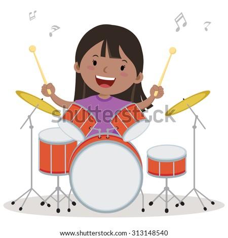 Little girl playing drum. Vector illustration of a little girl playing drums. - stock vector