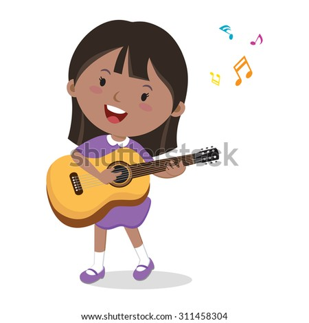 Little girl playing guitar. Vector illustration of a cheerful girl playing guitar and singing. - stock vector