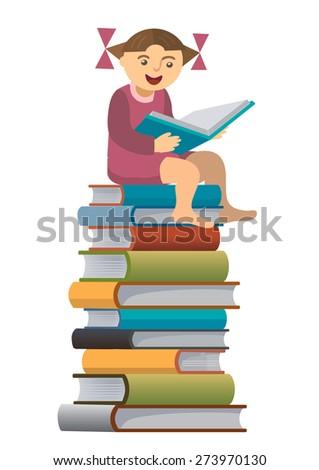 Little girl reader. Little girl sitting on the pile of books reading a book. Vector illustration. - stock vector