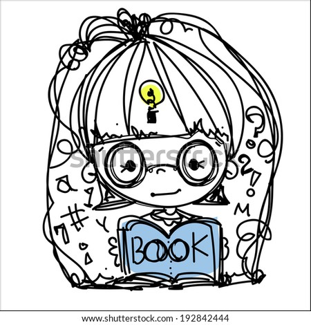 Little girl reading books cartoon vector file illustration - stock vector