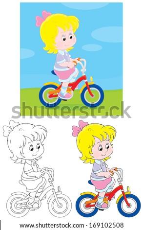 Little girl riding a bike  - stock vector